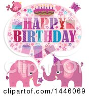 Clipart Of A Happy Birthday Greeting With A Bird Butterfly And Pink Elephants Royalty Free Vector Illustration
