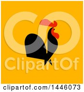 Clipart Of A Flat Styled Crowing Rooster On Orange Royalty Free Vector Illustration by elena