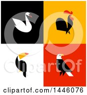 Flat Styled Swan Rooster Toucan And American Bald Eagle On Colorful Tiles