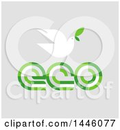 Clipart Of A Peace Dove Flying With A Green Leaf Over Eco Text On Gray Royalty Free Vector Illustration