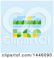 Clipart Of A Retro Eco Design With Trees Birds And Sun Royalty Free Vector Illustration