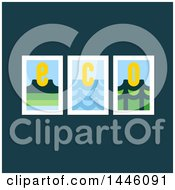 Clipart Of A Design Of Three Landscapes And Eco Letters On Teal Royalty Free Vector Illustration
