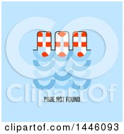 Clipart Of A Life Buoy And Water Design With 404 Page Not Found Text Over Blue Royalty Free Vector Illustration