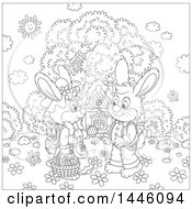Cartoon Black And White Lineart Cute Girl Bunny Giving A Boy Rabbit An Easter Egg On A Spring Day In Front Of A Cottage