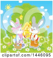 Cute Female Bunny Giving A Boy Rabbit An Easter Egg On A Spring Day In Front Of A Cottage