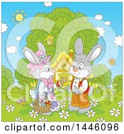 Cartoon Cute Girl Bunny Giving A Boy Rabbit An Easter Egg On A Spring Day In Front Of A Cottage