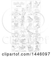 Black And White Lineart Chart Of Cute Animals And Insects With Alphabet Letters