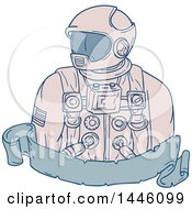 Clipart Of A Sketched Styled Astronaut Bust Over A Blank Banner Royalty Free Vector Illustration