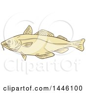 Sketched Styled Atlantic Cod Fish