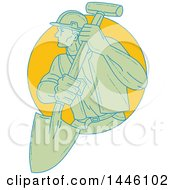 Sketched Styled Construction Worker Wearing A Hardhat And Holding A Shovel Emerging From A Circle