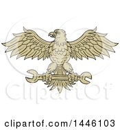 Clipart Of A Sketched Styled American Bald Eagle Flying With A Spanner Wrench Royalty Free Vector Illustration