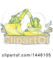 Clipart Of A Sketched Styled Mechanical Digger Excavator Over A Banner Royalty Free Vector Illustration