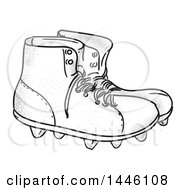 Sketched Styled Pair Of Vintage American Football Boots