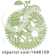 Clipart Of A Sketched Styled Green Gear And Hops Plant Royalty Free Vector Illustration by patrimonio