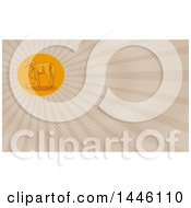 Clipart Of A Sketched Styled Farrier Placing Shoes On A Horse Hoof And Tan Rays Background Or Business Card Design Royalty Free Illustration by patrimonio