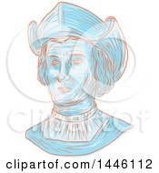 Clipart Of A Sketched Bust Of Christopher Columbus Or Cristoforo Colombo An Italian Explorer Navigator Colonizer And Citizen Of The Republic Of Genoa Royalty Free Vector Illustration