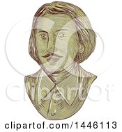 Clipart Of A Sketched Bust Of Christopher Marlowe Kit Marlowe An English Playwright Poet And Translator Of The Elizabethan Era Royalty Free Vector Illustration