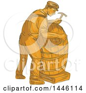 Clipart Of A Sketched Styled Male Cooper Making A Barrel In Orange Tones Royalty Free Vector Illustration by patrimonio