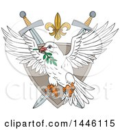 Clipart Of A Sketched Styled Peace Dove Flying With An Olive Branch In Its Mouth Over A Shield Fleur De Lis And Crossed Swords Crest Royalty Free Vector Illustration