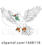 Clipart Of A Sketched Styled Peace Dove Flying With An Olive Branch In Its Mouth Royalty Free Vector Illustration