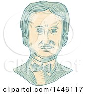 Clipart Of A Sketched Bust Of Edgar Allan Poe An American Writer Editor Poet And Literary Critic Royalty Free Vector Illustration