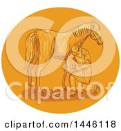 Clipart Of A Sketched Styled Farrier Placing Shoes On A Horse Hoof In An Orange Circle Royalty Free Vector Illustration