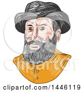 Clipart Of A Sketched Bust Of Ferdinand Magellan Aka Fernando De Magallanes A Portuguese Explorer Royalty Free Vector Illustration