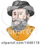 Clipart Of A Sketched Bust Of Ferdinand Magellan Aka Fernando De Magallanes A Portuguese Explorer Royalty Free Vector Illustration by patrimonio