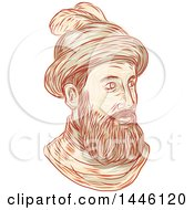 Clipart Of A Sketched Bust Of Francisco Pizarro Gonzalez A Spanish Conquistador Royalty Free Vector Illustration