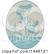 Clipart Of A Sketched Styled Medieval Gentleman Holding A Beer Tankard In An Oval Royalty Free Vector Illustration