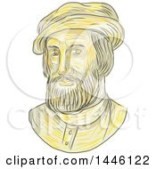 Clipart Of A Sketched Bust Of Hernan Cortes De Monroy Y Pizarro Altamirano Marquis Of The Valley Of Oaxaca A Spanish Conquistador Royalty Free Vector Illustration