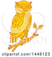 Clipart Of A Mono Line Styled Great Horned Owl Perched On A Branch Royalty Free Vector Illustration by patrimonio