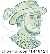 Clipart Of A Sketched Bust Of Juan Ponce De Leon A Spanish Explorer And Conquistador Royalty Free Vector Illustration