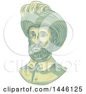 Clipart Of A Sketched Bust Of Juan Sebastian Elcano Aka Juan Sebastian Del Cano A Spanish Explorer Of Basque Origin Royalty Free Vector Illustration