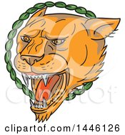 Clipart Of A Tattoo Styled Lioness Head Roaring In A Circle Of Leaves Royalty Free Vector Illustration