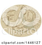 Clipart Of A Sketched Styled Medieval Baker Kneading Dough In A Kitchen Royalty Free Vector Illustration