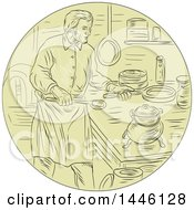 Retro Sketched Styled Medieval Chef Cooking In A Kitchen