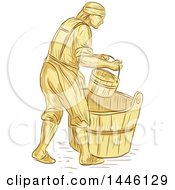 Retro Sketched Styled Medieval Miller Or Milne With A Bucket Over A Barrel