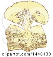 Clipart Of A Sketch Styled Oak Tree With Roots Growing Over An Open Book Royalty Free Vector Illustration
