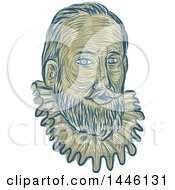 Clipart Of A Sketched Bust Of Sir Walter Raleigh An English Landed Gentleman Writer Poet Soldier Politician Courtier Spy And Explorer Royalty Free Vector Illustration by patrimonio