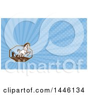 Retro Woodcut Horse Pulling A Plow And A Farmer In An Octagon And Blue Rays Background Or Business Card Design