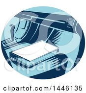 Clipart Of A Retro Woodcut Book On A Passenger Car Seat Royalty Free Vector Illustration by patrimonio
