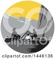Clipart Of A Retro Woodcut Mountainous Camp With Men Around A Fire Royalty Free Vector Illustration