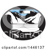 Clipart Of A Retro Woodcut Driver And Passenger In A Car Heading Towards Mountains Royalty Free Vector Illustration by patrimonio