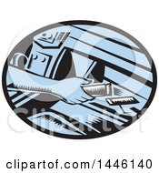 Poster, Art Print Of Retro Woodcut Drivers Hand Reaching For An Energy Bar In A Glove Box