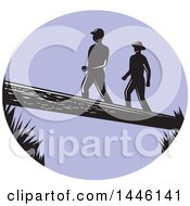 Clipart Of A Purple Oval With Silhouetted Retro Woodcut Men Crossing A Log Royalty Free Vector Illustration