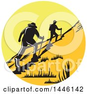 Clipart Of A Retro Woodcut Scene Of Hikers Climbing A Trail Royalty Free Vector Illustration