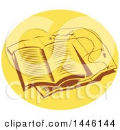 Clipart Of A Retro Open Book On Top Of A Tail Map In An Oval Royalty Free Vector Illustration by patrimonio