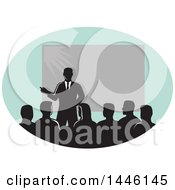 Clipart Of A Retro Silhouetted Business Man Giving A Lecture By A Projector In An Oval Royalty Free Vector Illustration