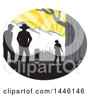 Clipart Of A Retro Woodcut Hiker Looking Up At A Giant Tree Against Mountains Royalty Free Vector Illustration